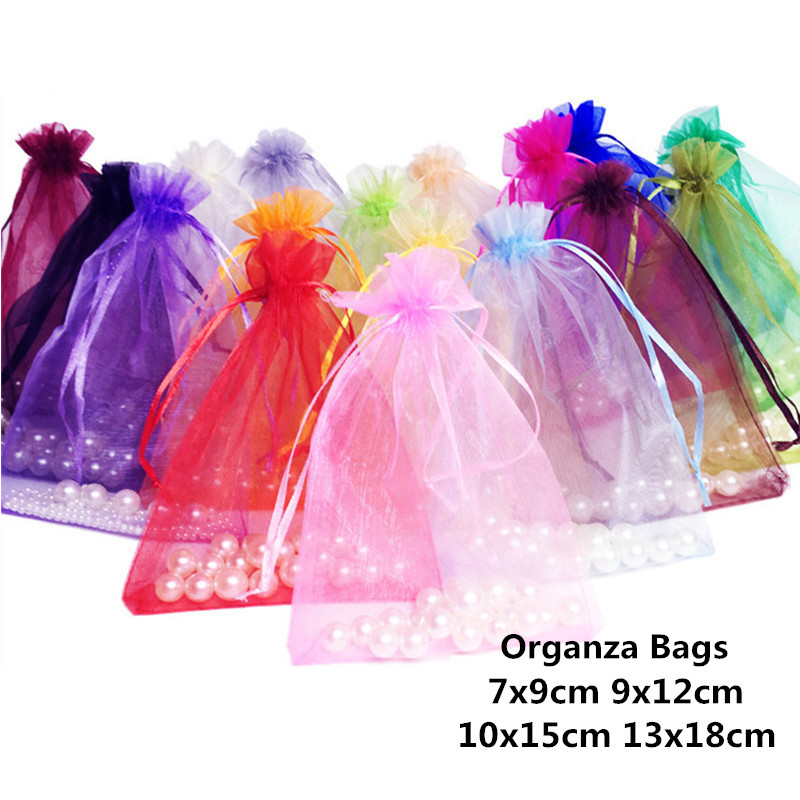 10pcs 7x9 9x12 10x15 13x18cm Organza Gift Bags Jewelry Packaging Bag Wedding Party Decoration Favors Drawable Gift Bag & Pouches