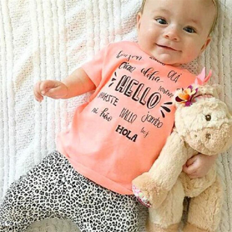 2017 Hot Sale Letter Printed cute baby girl summer T-shirt Tops+Pants Clothes new born baby set babykleding meisje Dropshipping