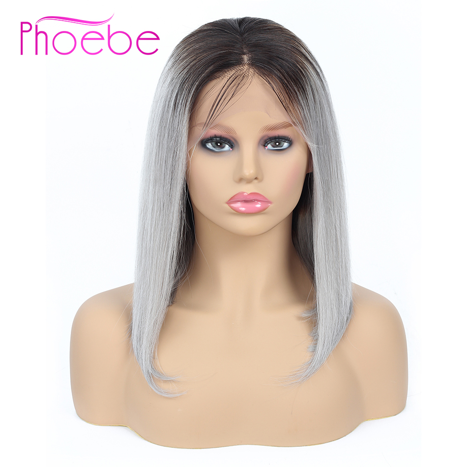 Phoebe 13x4 Lace Front Human Hair Wigs Ombre 1B Gray Short Human Hair Bob Wigs With