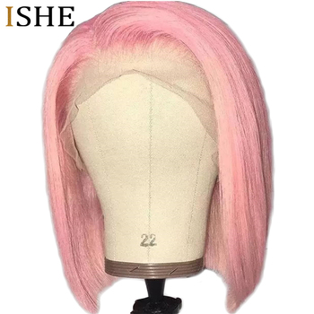 Pink Bob 13x6 Big Lace Front Human Hair Wigs Glueless PrePlucked 613 Pink Straight Short Bob Wigs With Baby Hair For Black Women