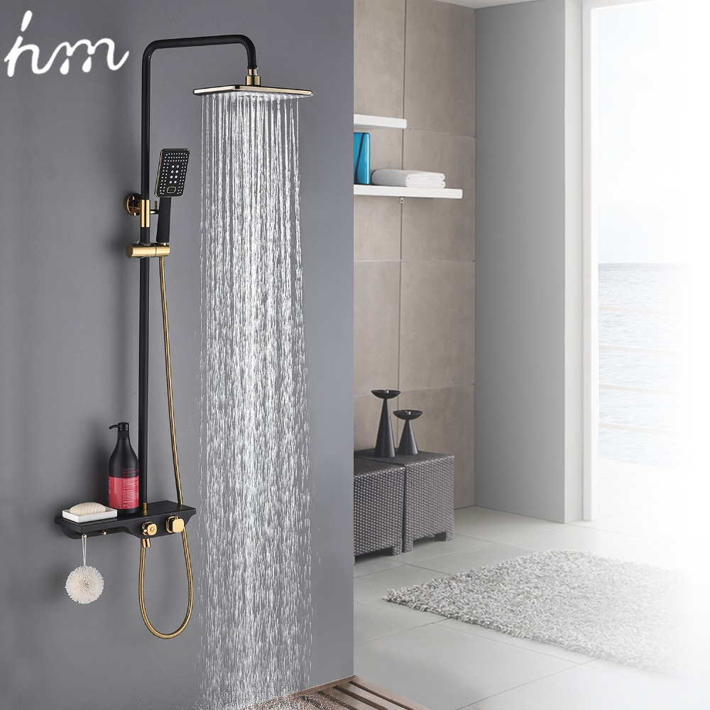 hm Black Gold Faucet Shower System Bathroom Toilet Rack Thermostatic & Cold and Hot Mixer Big Shower Faucet Set Copper