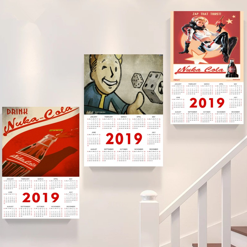 Fallout Series Game 2019 calendar Poster Retro Kraft Paper Bar Cafe Home Decor Painting Wall Sticker buy 3 get 4 image