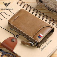 WilliamPOLO Vintage Leather Key Case Wallet Keys Organizer Keychain Car Key Holder 6 Hooks Zip Around Credit Card Cash Purse New