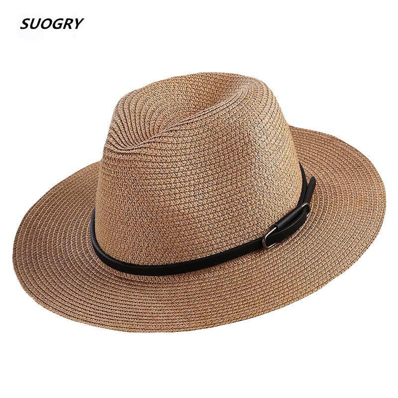 SUOGRY Panama Hats Womens Summer Sun Hat Male Female Khaki Straw Belt Decorate 2019 New Fashion Men Jazz Hat