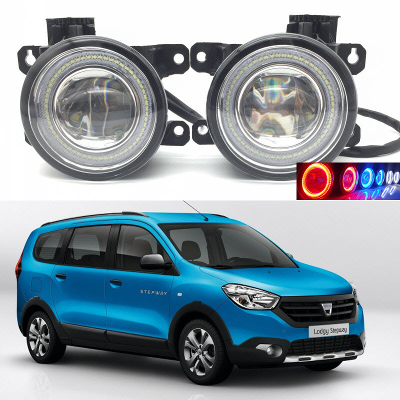 For Dacia Lodgy 2013-2016 2-in-1 LED 3 Colors Angel Eyes DRL Daytime Running Lights Cut-Line Lens Fog Lights Car Styling car styling 2 in 1 led angel eyes drl daytime running lights cut line lens fog lamp for land rover freelander lr2 2007 2014