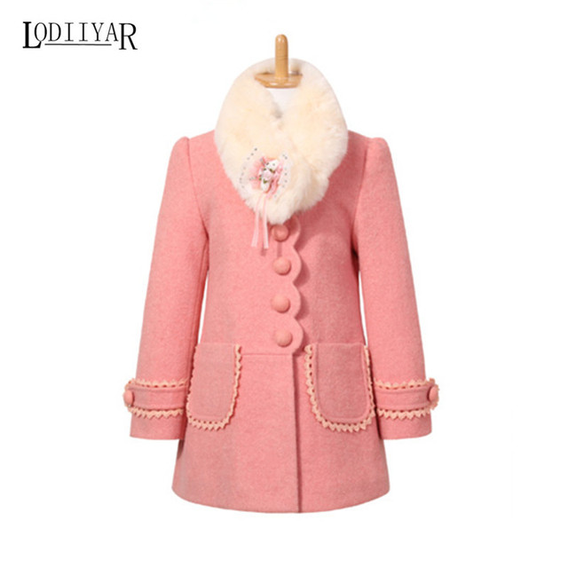 Girl Wool Coat Princess Style Long Sleeve Overcoat 2017 Winter Coat Kids Thick Jacket Children Outerwear For 5-9T