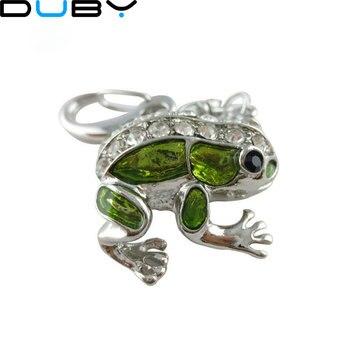 jewelry usb flash drive 4gb 8gb 16gb 32gb pen drive metal frog animal pendrive crystal gift hard disk gadget usb memeory