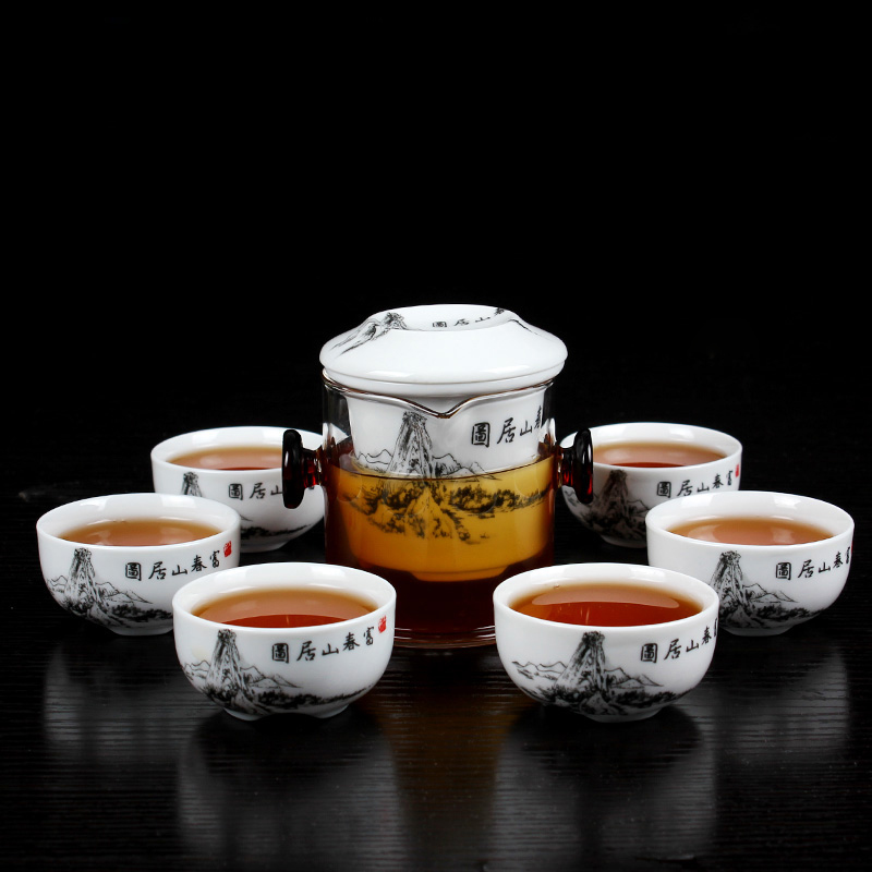 Glass Quik Cup Heat Resistance Borosilicate Porcelain Tea Sets with Filter Coffee Black Tea Pot Chinese Kung Fu Teaports Teacup|Teaware Sets| |  - title=