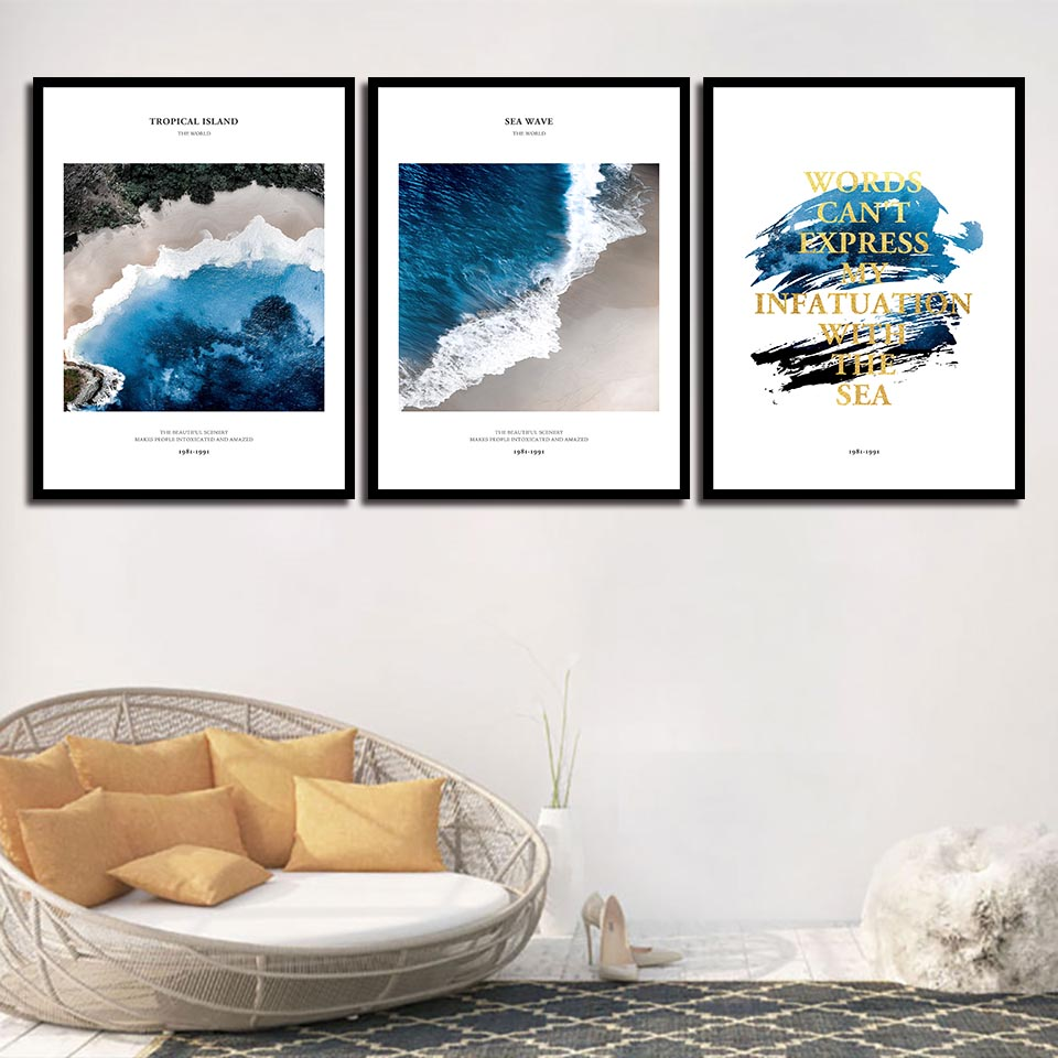 Nordic Style Tropical Island Blue Sea Wave Poster Canvas Art Print Painting My Infatuation With The Sea Wall Pictures Home Decor