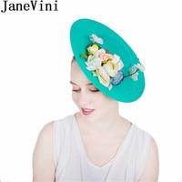 JaneVini Ladies Wedding Hat Flowers Fascinator Bride Hats Bridal Headpieces Evening Party Women Hat Mariage Accessoires 2018