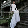 Cheap Elegant Backless Mermaid Lace Wedding Dress Vintage White Long Sleeve Wedding Dress 2017 Bridal Dress Vestido De Noiva W23