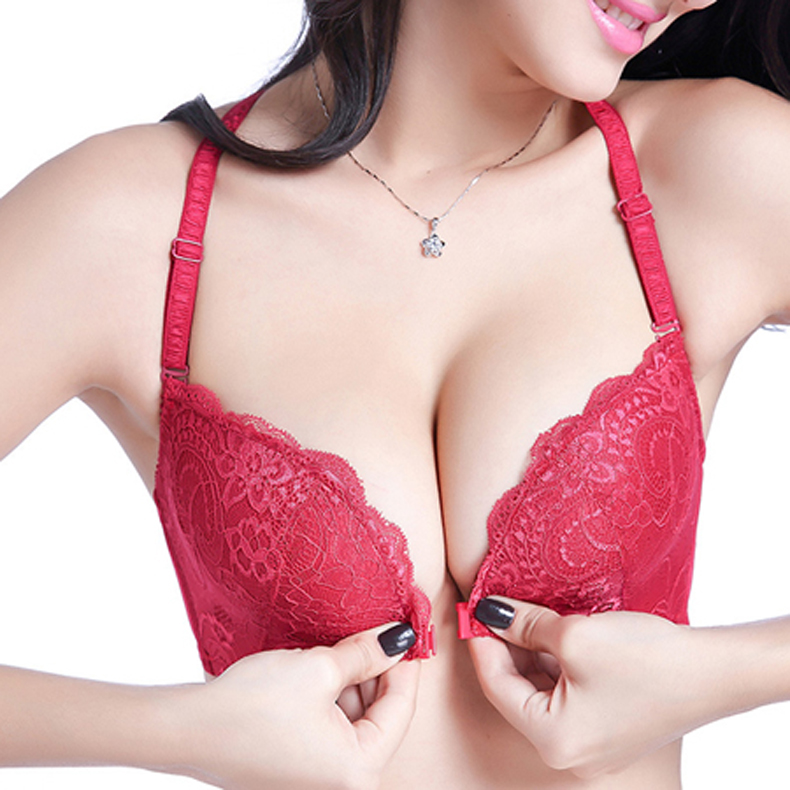 Intimates Bras For Women Sexy Underwear Super Push Up Front Closure Bra Lace Front Bras For Women Push Up Bralette 12