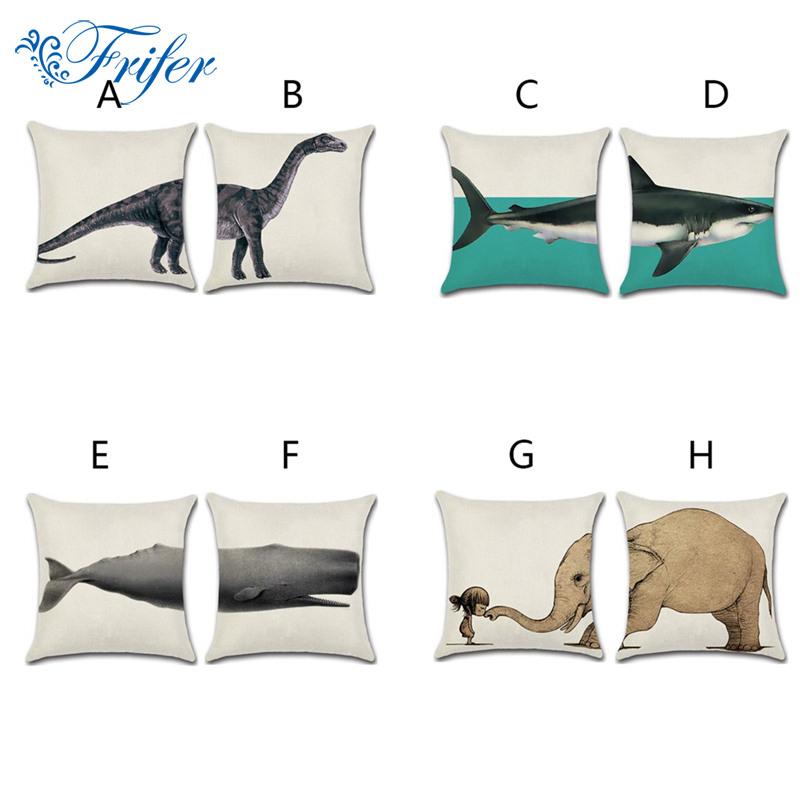 Creative Split Type Marine Animal Cushion Covers Elephant Shark Pattern Cotton Linen Throw Pillow Case for Couch Home Decorative