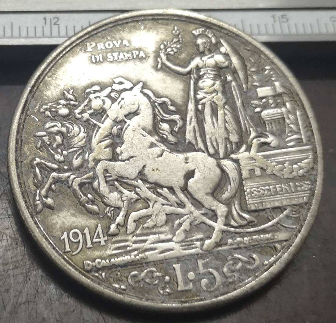 <font><b>1914</b></font> Italy 5 Lire - Vittorio Emanuele III (Prova di stampa) Silver Plated Coin (Type 2) image