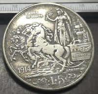 1914 Italia 5 Lire-Vittorio Emanuele III (Prova di stampa) In Argento Placcato Moneta (Tipo 2)