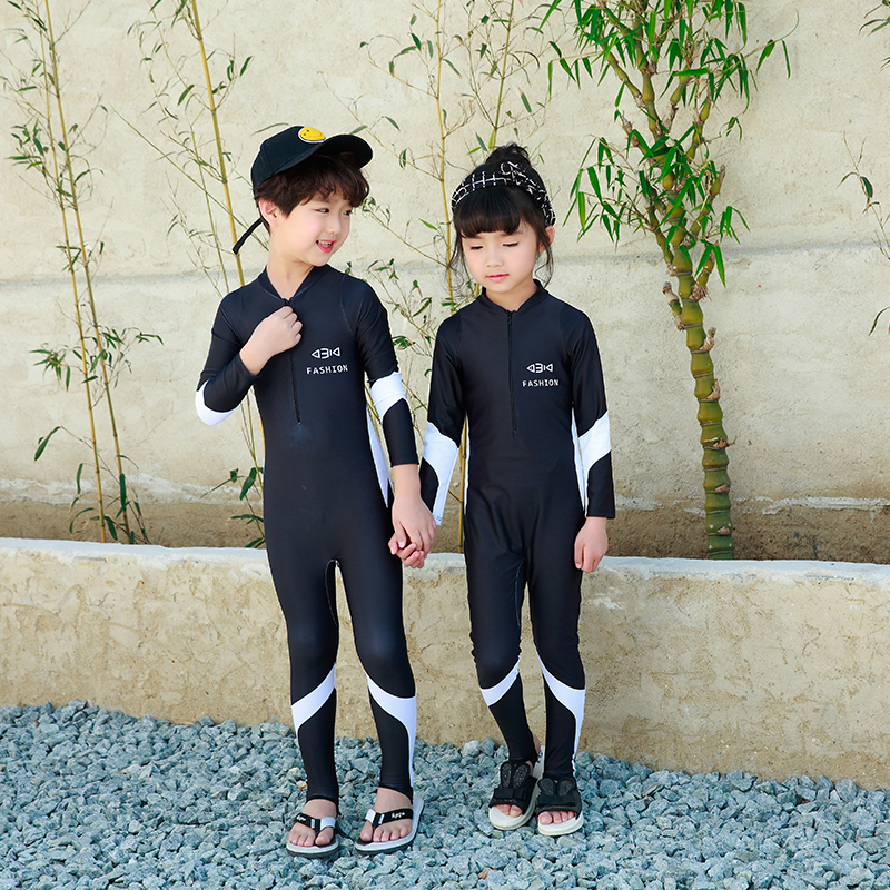 2018 New arrival boys and girls one piece swimsuit black sports swimwear patchwork solid bathing suit