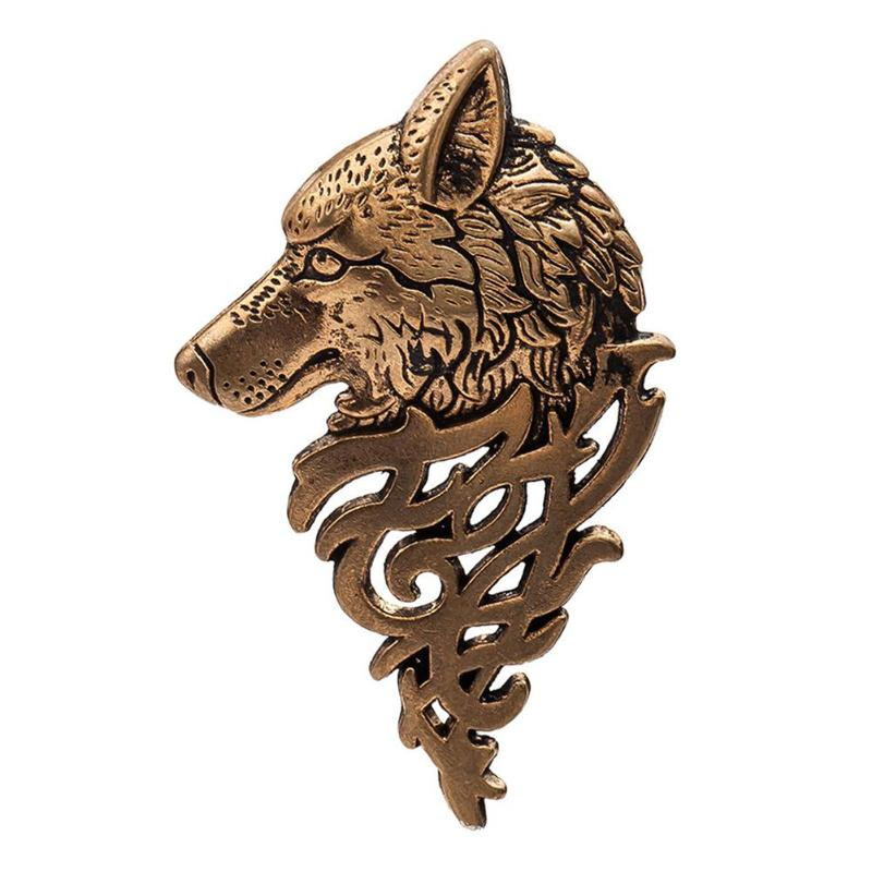 Retro Punk Style Suit Collar Lapel Pin Animal Wolf Badge Up Decoration Brooch for Men Vintage Jewelry Gift 2018 New Arrival