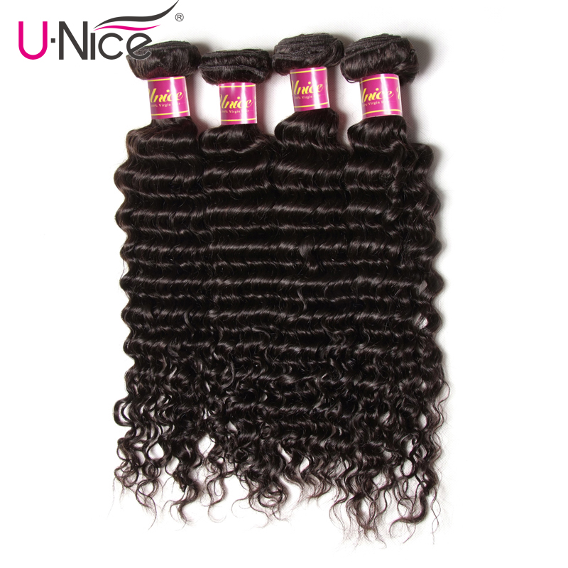 UNICE HAIR Malaysian Deep Wave Human Hair 4 Bundles 12 26 Inch Natural Color Remy Hair
