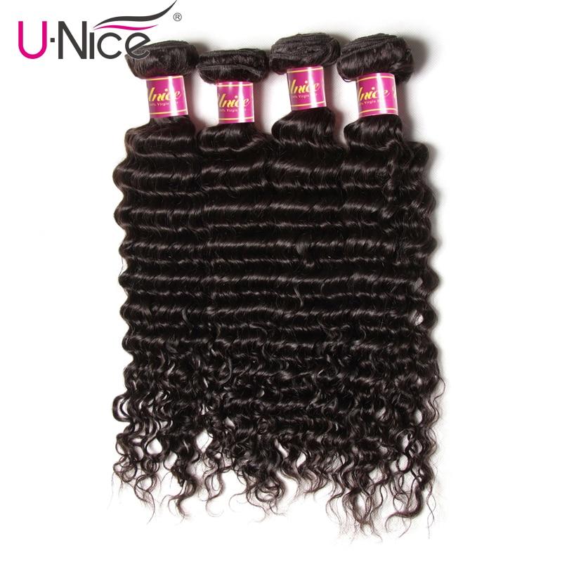 UNICE HAIR Malaysian Deep Wave Human Hair 4 Bundles 12-26 Inch Natural Color Remy Hair Bundles Free Shipping Hair Weaves