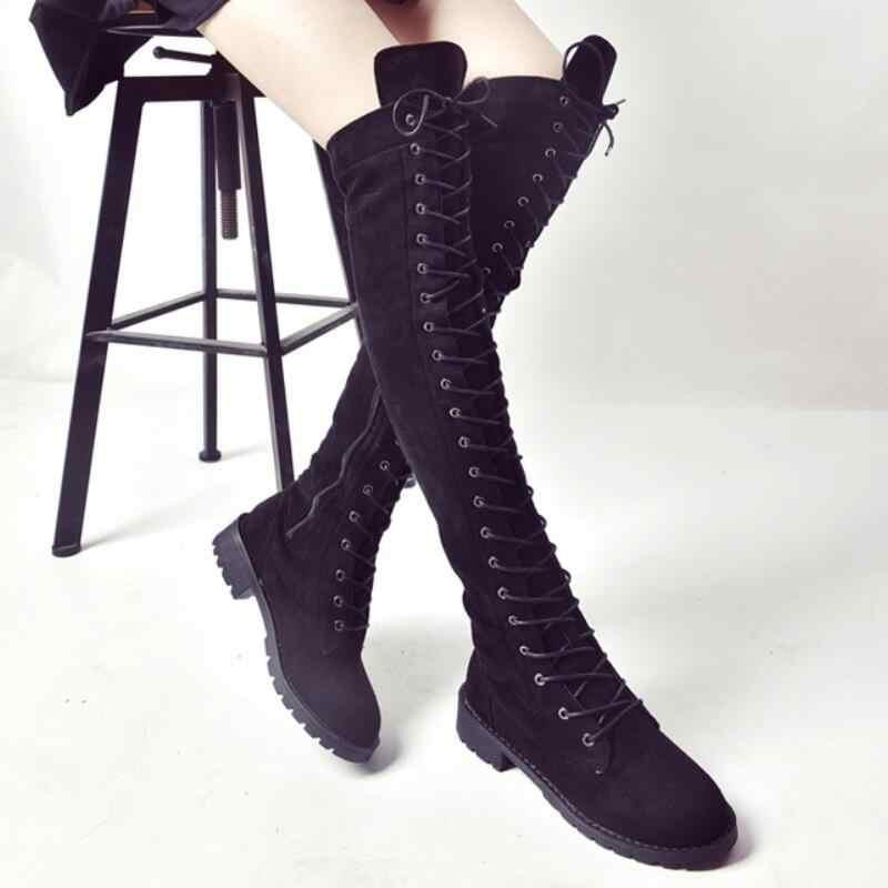 Au-dessus du genou slim long chaussons femmes chevalier cuisse haute bottes croisées dames 4 couleurs zipper bas talon botas femmes chaussures