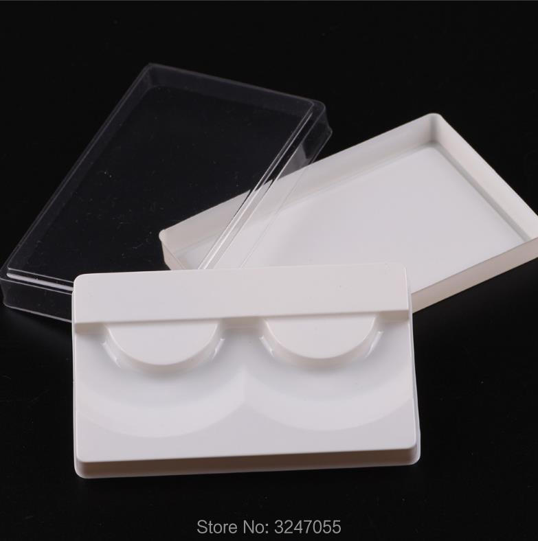 100pcs/lot Square Empty Fake Elelashes Storage Box, White Elegant Fake Eyelashes Refillable COntainer, Cosmetic Eye Makeup Tool
