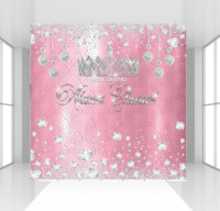 HUAYI Silver Crown pink theme Princess backdrop photophone background photocall Personalise Girls Party Banner birthday backdrop