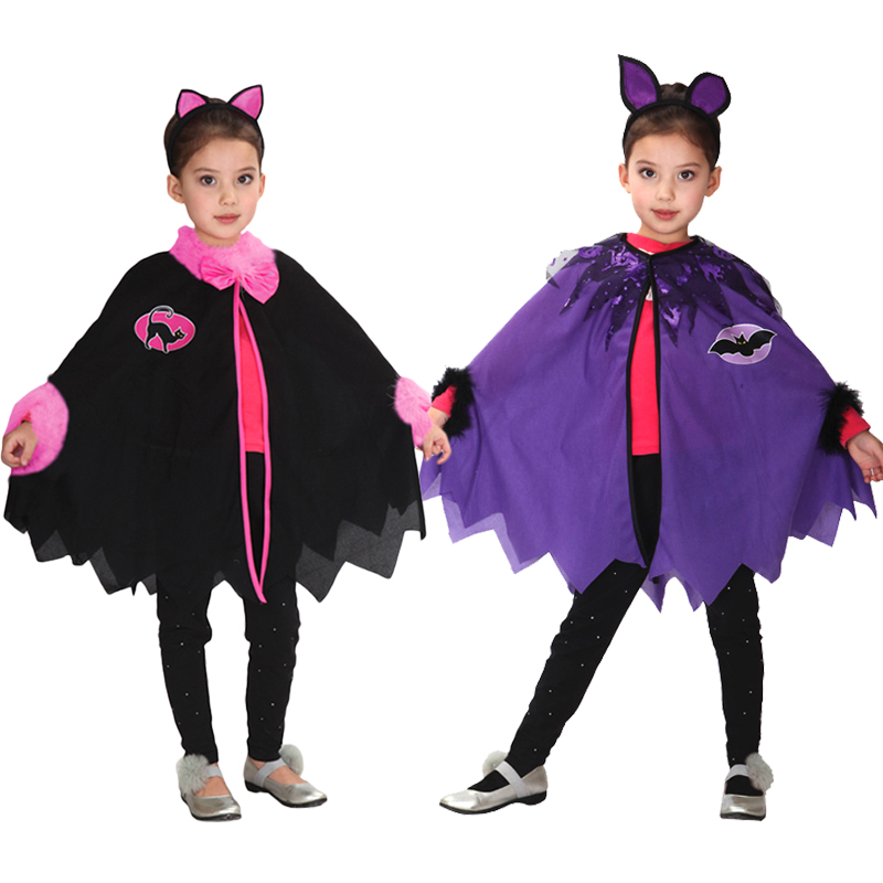 2018 Children Halloween Lovely Coat Cloak With Hat Cosplay Costumes Girl Party Witch Wizard Cloak Gown Robe Chirstmas dress up