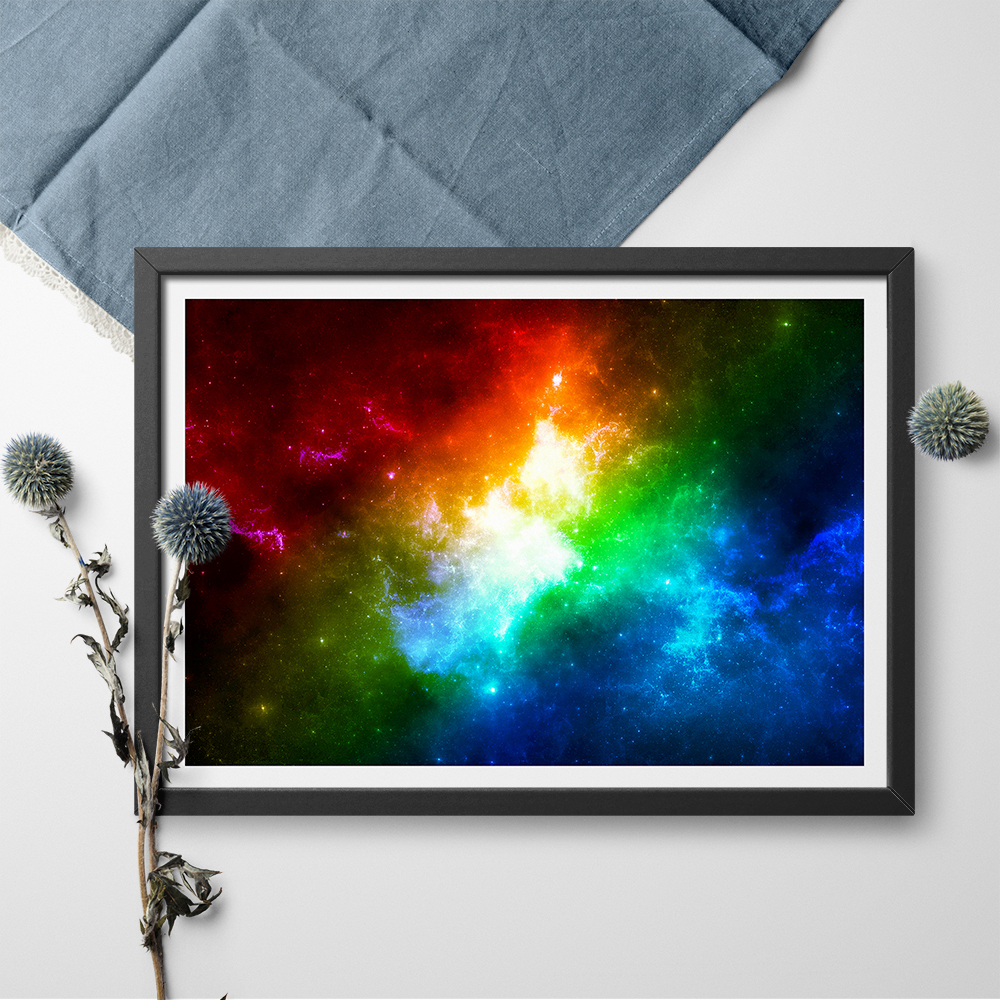 Colourful Space Canvas Painting Rainbow Color Galaxy Wall Art Blue Night Scene Poster Print Home Decor No Frame