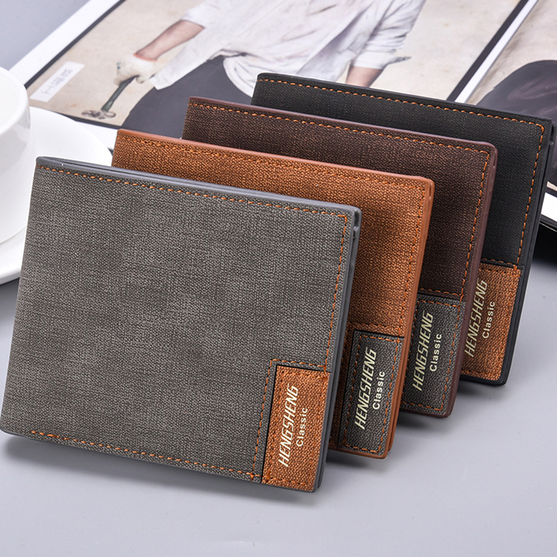 Retro Suede Leather Short Wallet Men Canvas Pattern Slim Bifold Men's Wallets Japaness Fashion Soft Small Purses For Man