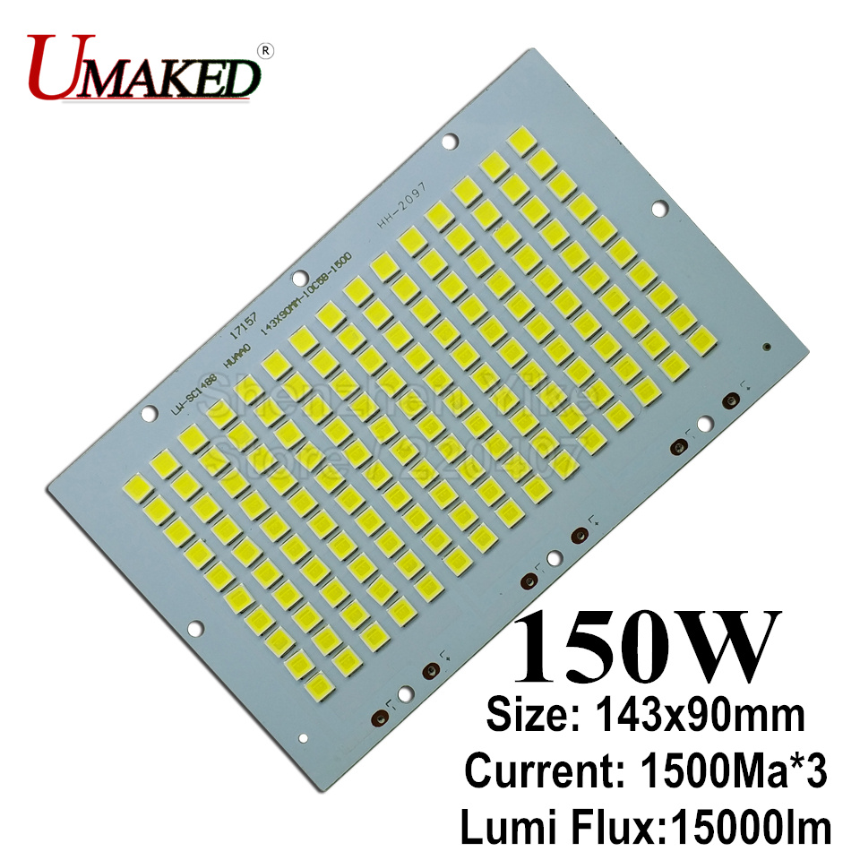 150W 143x90mm LED Floodlight PCB board, 15000lm LED SMD5054 lighting source for led floodlight, Aluminum plate base board