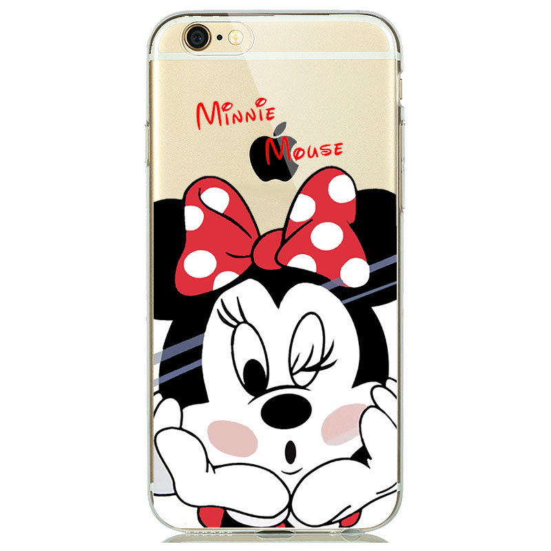 online store 861cf 1ae9a US $1.28 15% OFF|Mickey Minnie Mouse Phone Cover for iPhone 7 Case Soft TPU  Clear Rubber Silicone Micky Case for iPhone 5s 6 6s 7 8 Plus funda-in ...