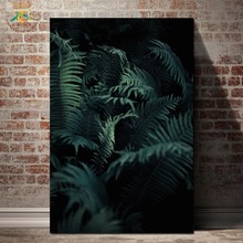 Dark Green Leaves Plant Nordic Poster Nature Wall Art Canvas Prints Painting Pop Pictures for Living Room
