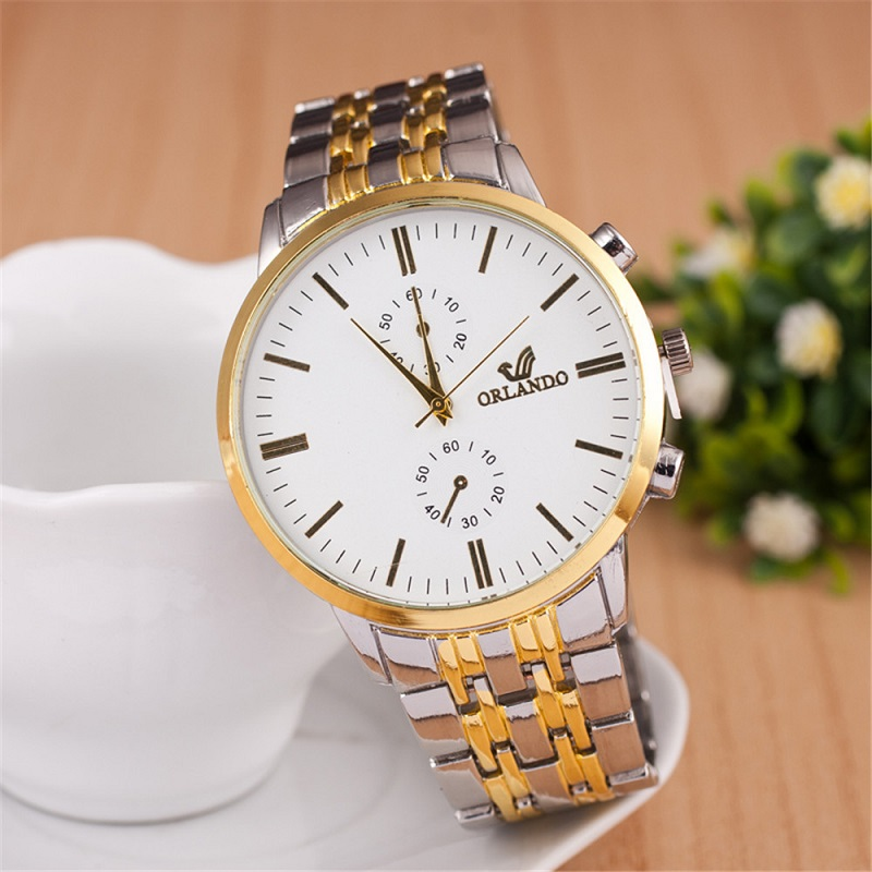 Loadr Fashion Gold Orlando Watch Men Stainless Steel Business Casual Quartz Wrist Watch Analog Clock Relojes mike 8825 men s business casual analog quartz wrist watch silvery white black
