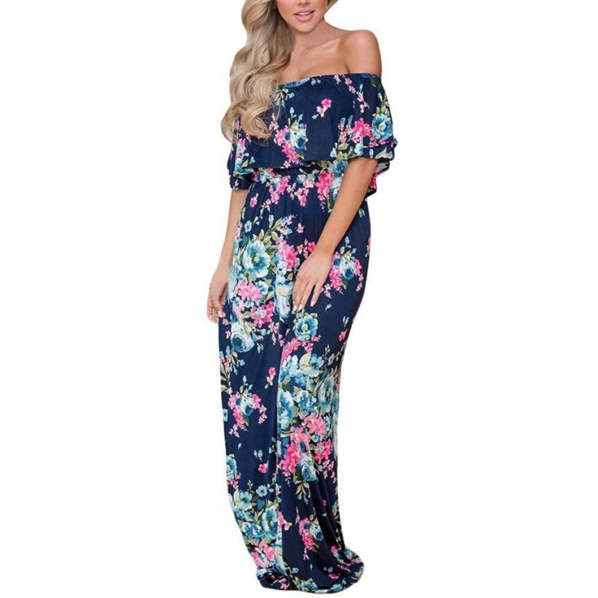 Off Shoulder Ruffle Short Sleeve Long Dress Women Summer Floral Print Casual Straight Maxi Dress Slash Neck Sundress Dresses#30