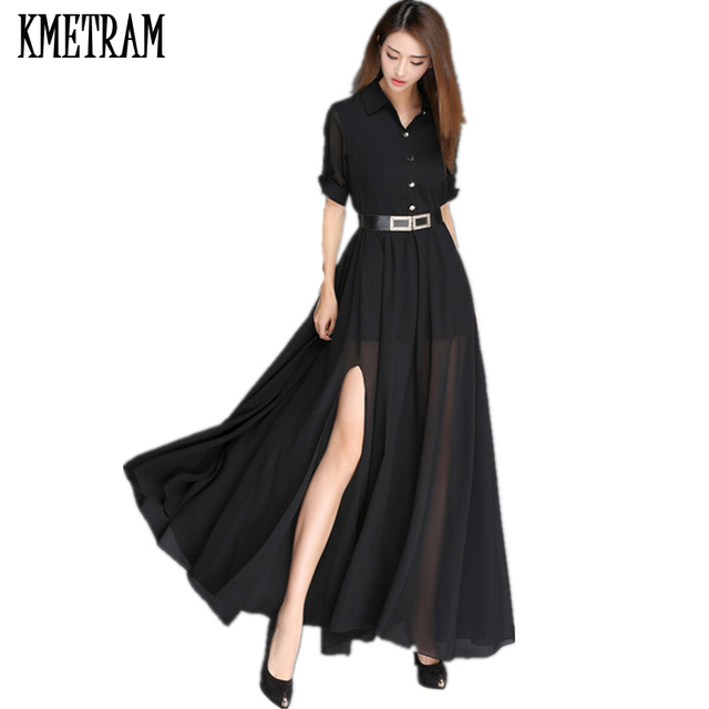 KMETRAM Black White Maxi Dress Women Summer Party Dresses Elegant Long  Chiffon Shirt Dress With Blet b663a3f77c99