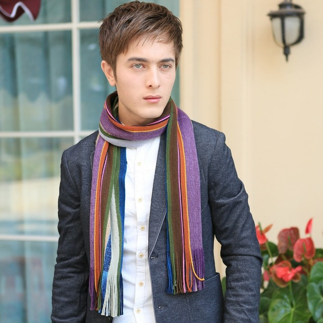 Fashionable Men Striped Scarf Crochet Pattern In Scarves From Mens