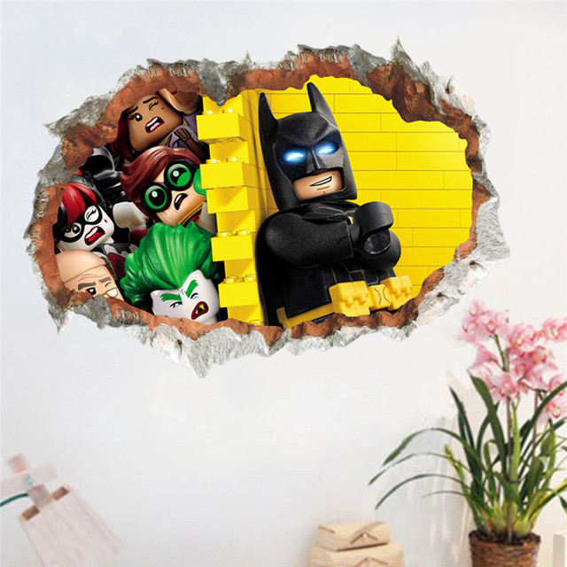 Funny Smile Batman Cartoon wall stickers for kids room 3d Through ...