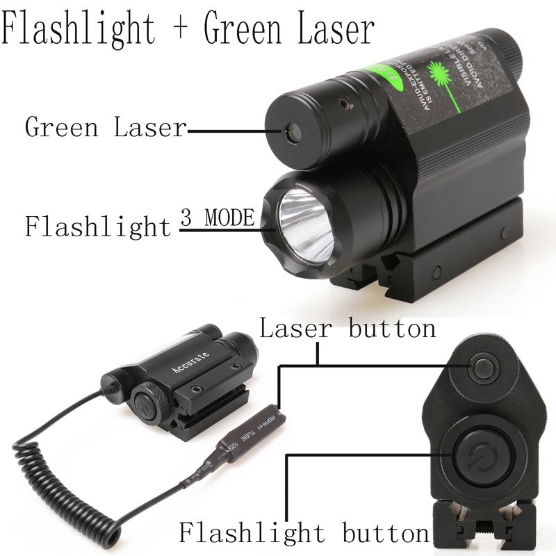 ФОТО 200LM Multifunctional Flashlight Torch,Outdoor Green Laser Sight Tactical Rail Work Flash Lamp