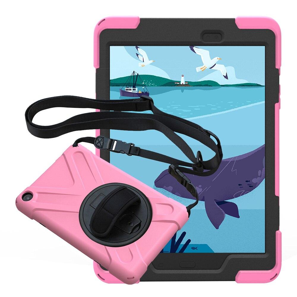 Pour Samsung Galaxy Tab Un 9.7 SM-T550 T555 Pirate Tablet cas de Couverture de Silicone + PC Béquille Dur Cas Avec Poignet + Épaule sangle