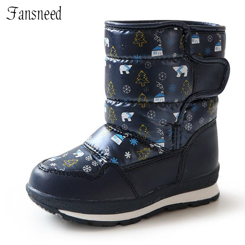 2019 Children Boots Girls And Boys Non-slip Snow Boots Children 's Waterproof Thick Wool Inside Warm Below -30 Degree