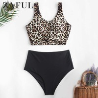 ZAFUL Animal Print Knotted Mix And Match Tankini Swimwear High Waisted Scoop Neck Padded Women Sexy Leopard Push Up Bathing Suit