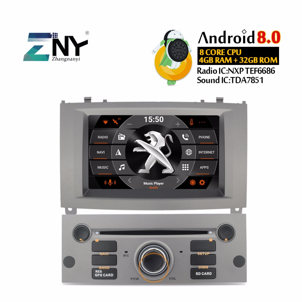 Android 8 0 Car DVD Stereo For PEUGEOT 407 2004 2010 7 IPS Screen font b