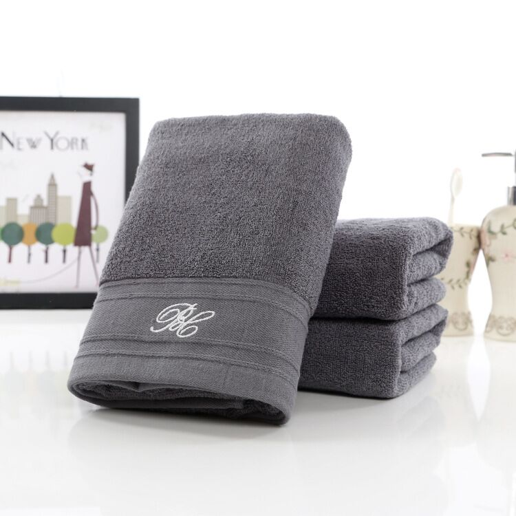 50100cm 2pcs grey large cotton terry hand towels setbulk soft luxury decorative bathroom hand towels setserviette de toilette - Decorative Hand Towels
