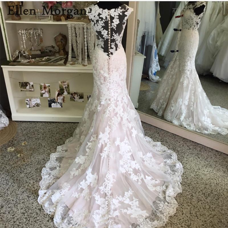 Sexy Summer Mermaid Wedding Dresses 2019 Cheap Beach Garden Illusion Sheer  Neck Lace Appliques Court Train ... cf51a9d8cefd