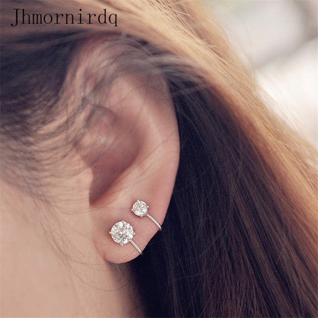 Simple Fake Earing Woman Aaa Cubic Zirconia Jewelry Non Piercing Cz 3mm 5mm Stud Earrings Statement