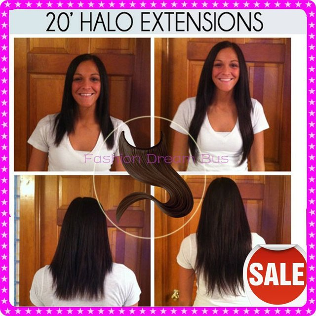 1pc Cheap Price Peruvian Remy Hair Halo Hair Extensions 8 28inch