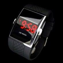 Мужская и женская модная светодиодный цифровой дисплей квадратный корпус спортивные повседневные наручные часы