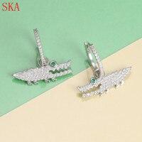 Fashion Small Green Eyes Crocodile Earring For Women Korean Cute Animal 925 Silver Earrings Crystal Zircon Women Accessories