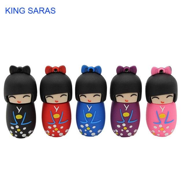 KING SARAS 64GB cartoon red pink black blue purple colour mini Japanese dollusb flash drive usb2.0 4GB 8GB 16GB 32GB pendrive