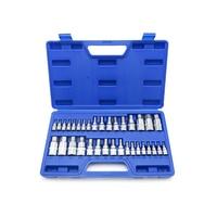 34PC Hex Bit Socket Hex Wrench Ratchet Drive Adapter Set 1/4 3/8 1/2Socket Wrench Car Hand Tools Repair Kit Cr V Steel Bits